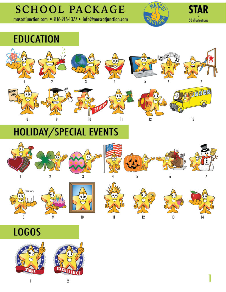 Star Mascot Clipart School 1
