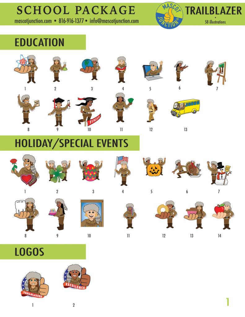 Trailblazer Mascot 2 Clip Art School 1