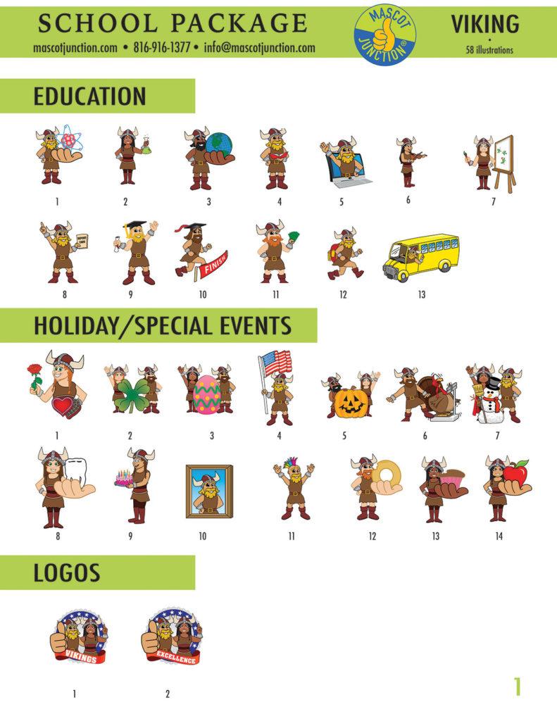 Viking Mascot Clip Art School 1