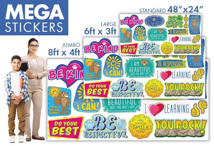 Mega Sticker Sizes School