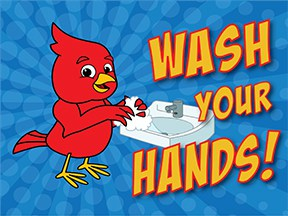 Wash Hands Red bird