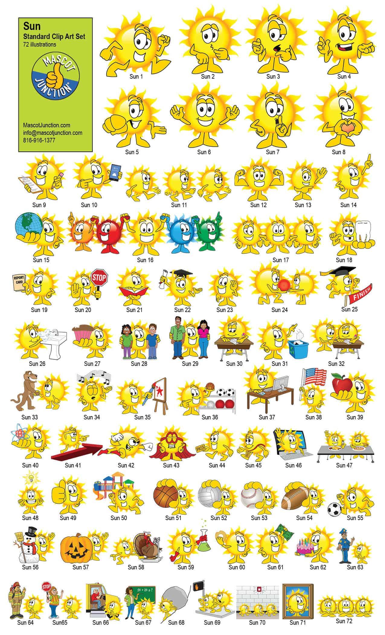 Sun Mascot Clip Art