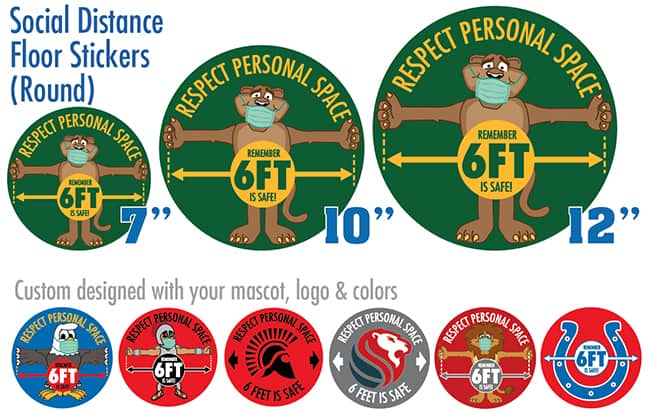 Round Social Distance Floor Stickers