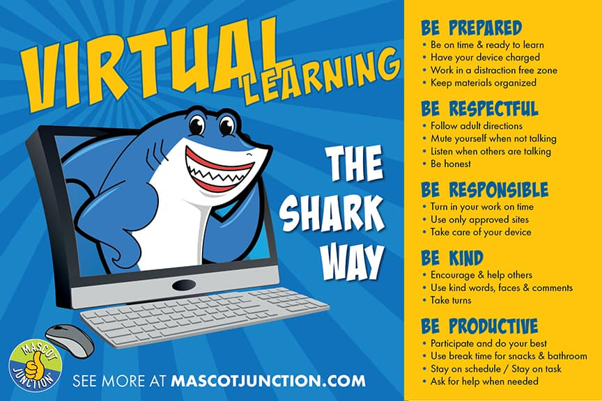 Virtual Learning Poster Shark Mascot