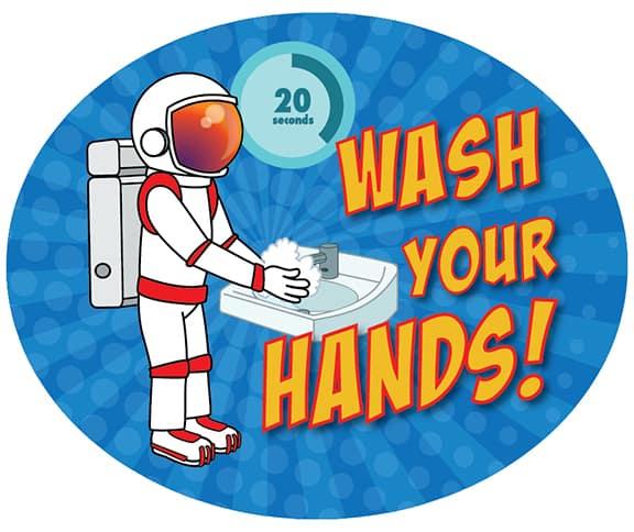 Wash Your Hands Sticker Astronaut