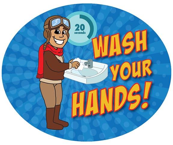 Wash Your Hands Sticker Pilot