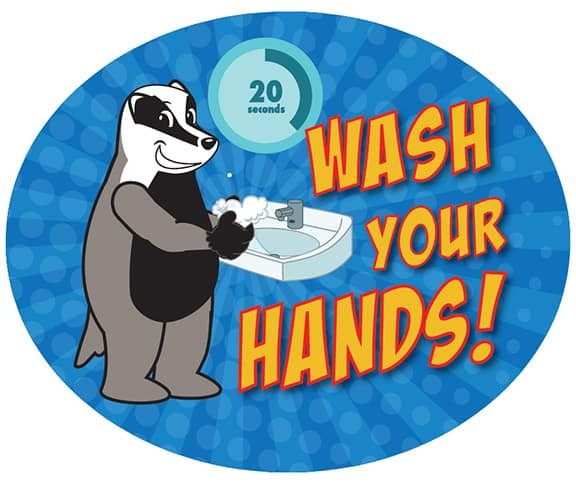 Wash Your Hands Sticker Badger
