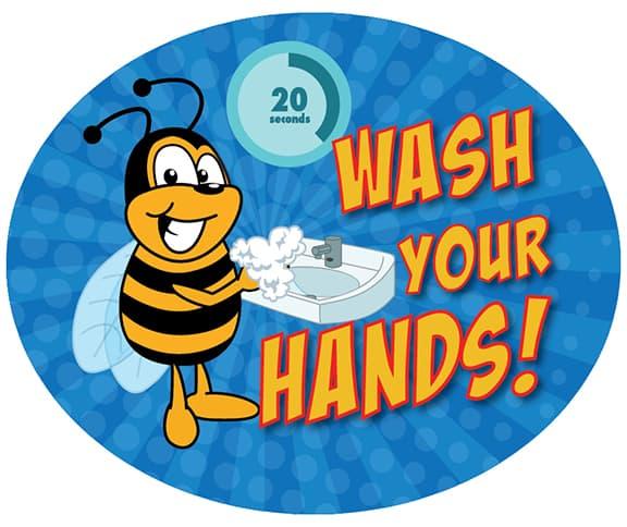 Wash Your Hands Sticker Bee