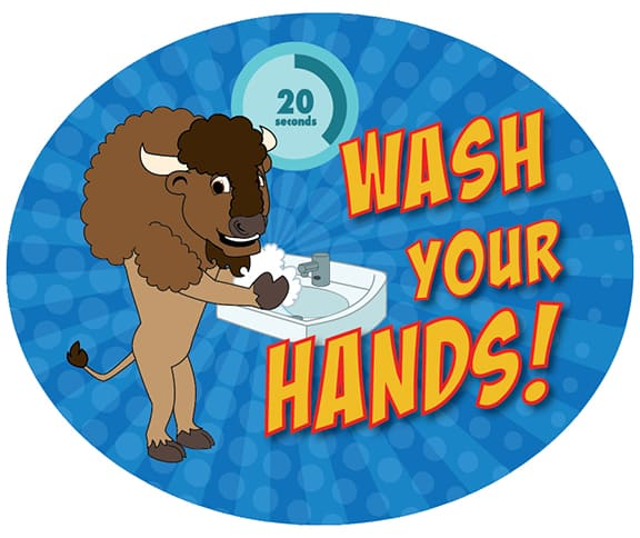 Wash Your Hands Sticker Bison