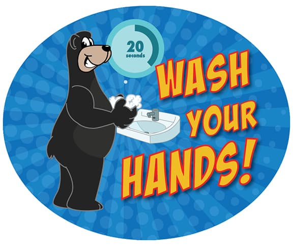 Wash Your Hands Sticker Black Bear