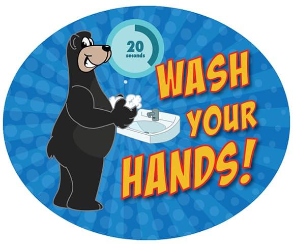 Wash Your Hands Sticker Black Bear