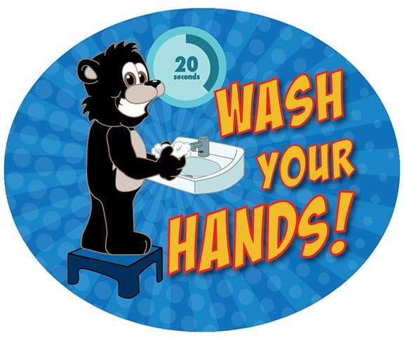 Wash Your Hands Sticker Bear Cub