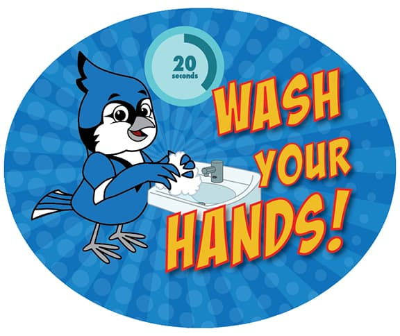 Wash Your Hands Sticker Blue Jay