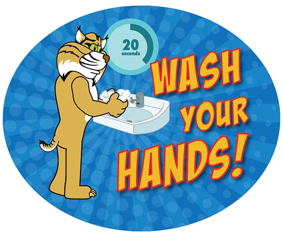 Wash Your Hands Sticker Bobcat
