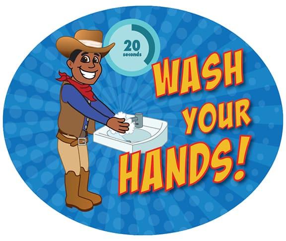 Wash Hands Sticker Cowboy