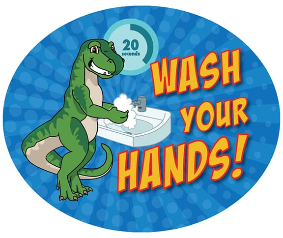 Wash Hands Sticker Dinosaur Raptor