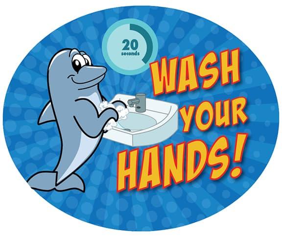 Wash Hands Sticker Dolphin