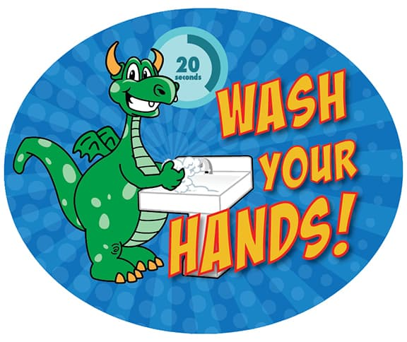 Wash Hands Sticker Dragon