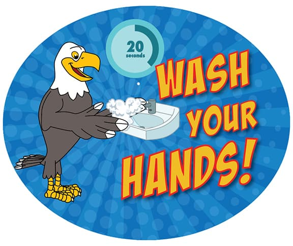Wash Hands Sticker Eagle 2