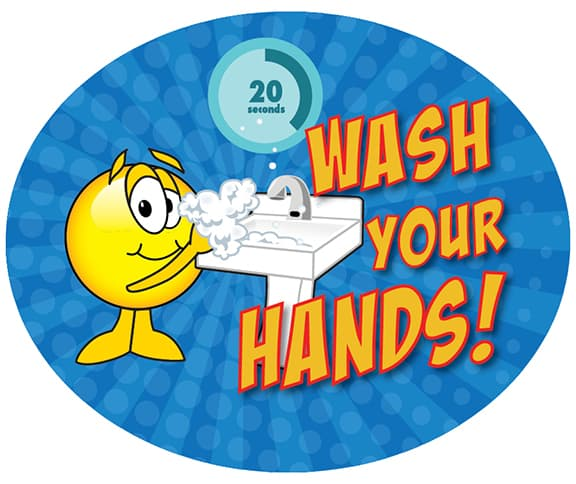 Wash Hands Sticker Smiley Face