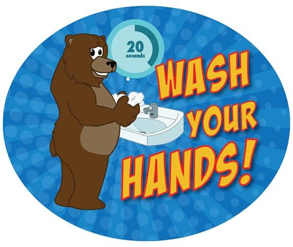 Wash Hands Sticker Grizzly