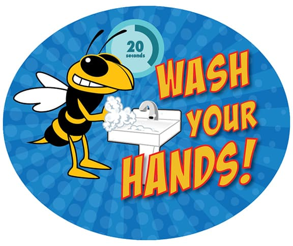 Wash Hands Sticker Hornet Yellow Jacket