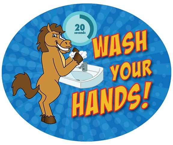 Wash Hands Sticker Horse