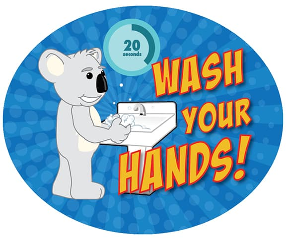 Wash Hands Sticker Koala Mascot