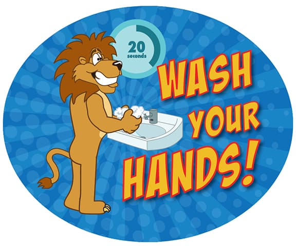 Wash Hands Sticker Lion