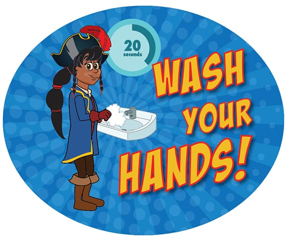 Wash Hands Pirate Girl