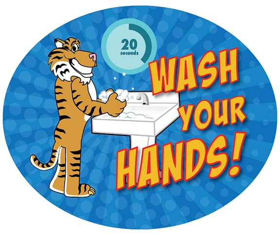 Wash Your Hands wall stickers Tiger Mascot
