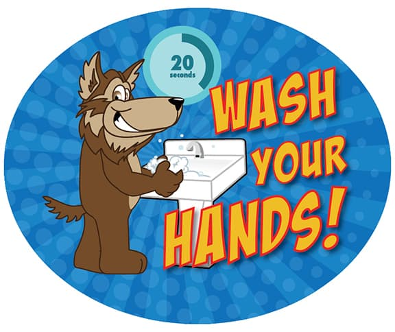 Wash Hands Sticker Wolf