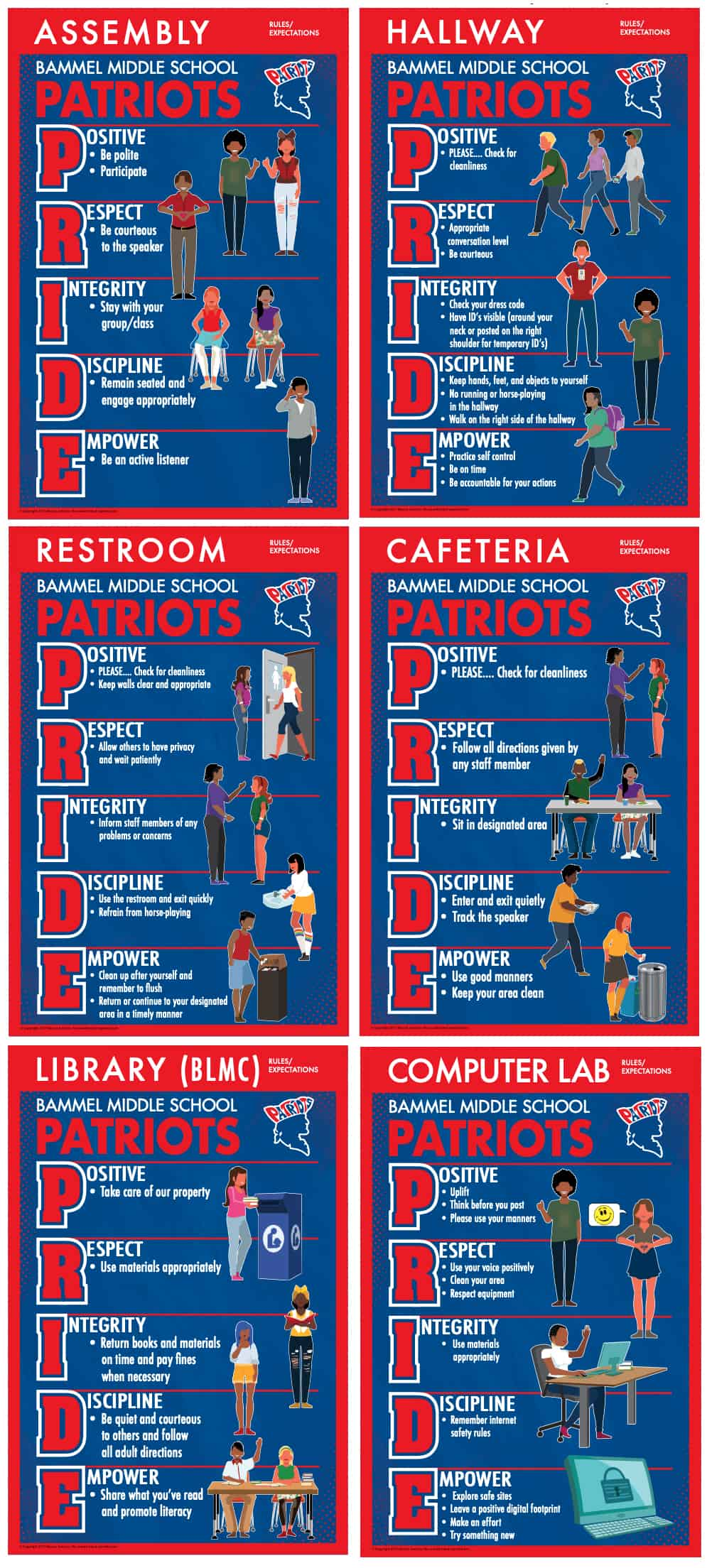 PBIS Rules Posters Patriot PRIDE