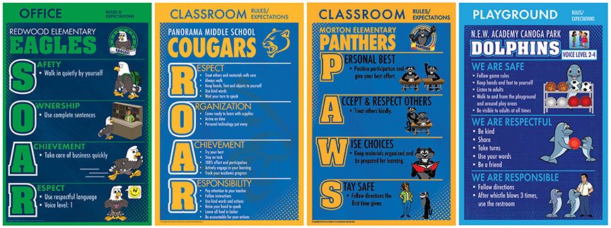PBIS Rules Posters ROAR SOAR PAWS