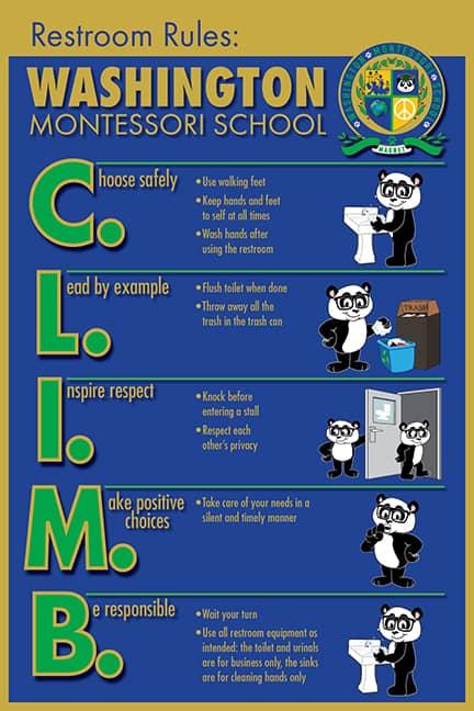 PBIS Restroom Rule Poster Panda