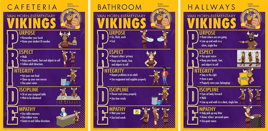 Rules Posters PBIS Viking PRIDE