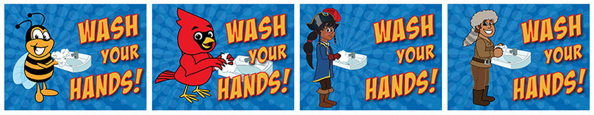 Wash Your Hands Posters School Mascot