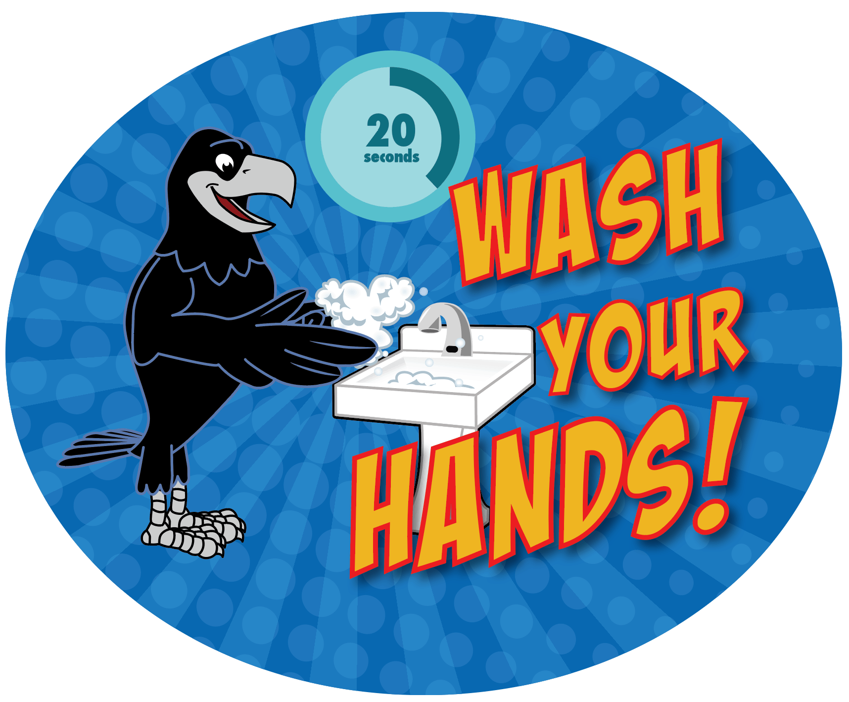 Wash Your Hands Sticker Raven