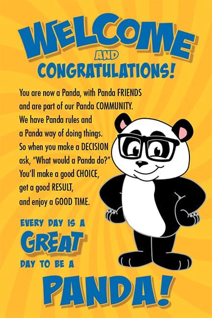 Welcome Poster Panda Mascot