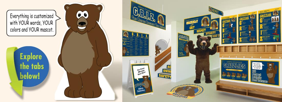 Grizzly Bear Mascot used in PBIS posters, banners and signs